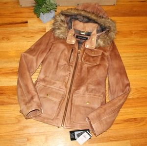 Leather Jacket from Wilsons Fur Hood Retail $700